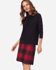 AURORA WRAP SKIRT, RED/BLACK OMBRE CHECK, large