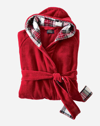 WOMEN'S SOLID COTTON ROBE, RED, large