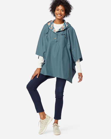 RAIN PONCHO IN SLATE BLUE