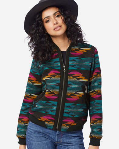 WOMEN'S PACIFIC WOOL BOMBER JACKET IN CACTUS BLOOM CHARCOAL