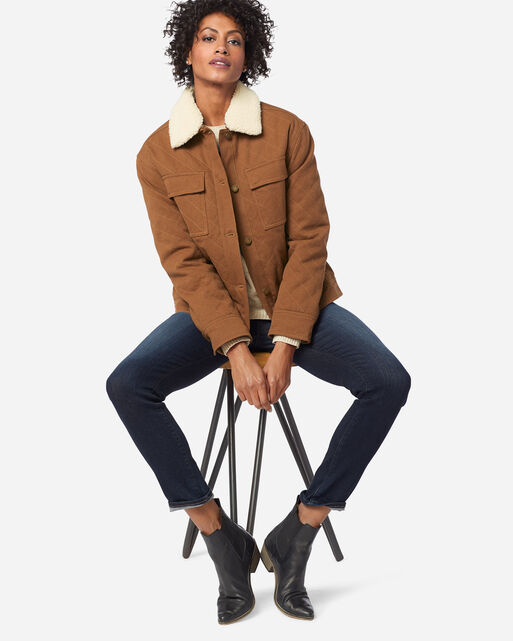 WOMEN'S SIDNEY QUILTED BARN COAT IN WHISKEY