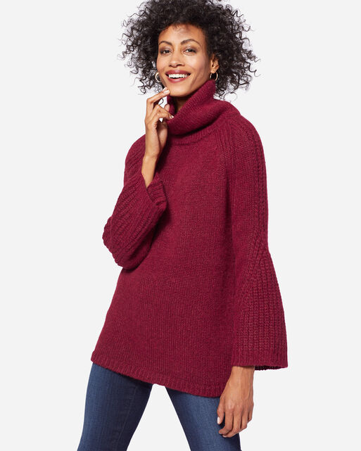 LUXE COWLNECK SWEATER, POMEGRANATE, large