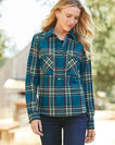 ADDITIONAL VIEW OF ULTRAFINE MERINO PAIGE POPOVER SHIRT IN TURQUOISE PLAID