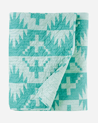 SPIDER ROCK PRINTED COVERLET SET IN AQUA