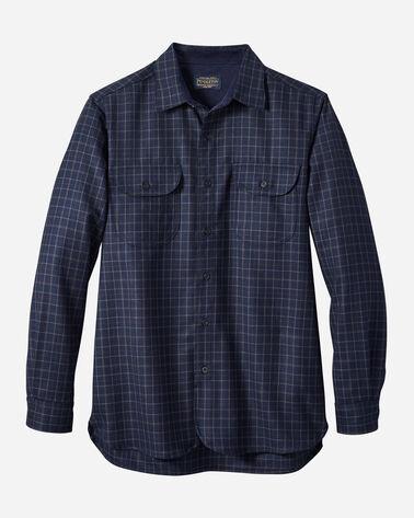 FITTED BUCKLEY AIRLOOM MERINO SHIRT IN NAVY/OLIVE PLAID