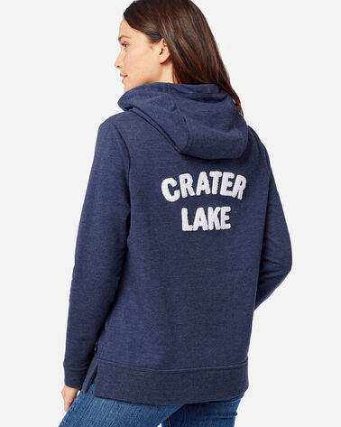 BACK VIEW OF WOMEN'S ANORAK HOODIE IN CRATER LAKE NAVY