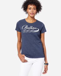 WOMEN'S WAVE GRAPHIC TEE, NAVY HEATHER, large