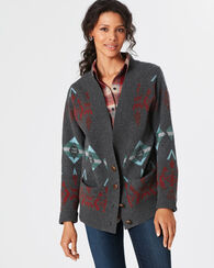 ARROWHEAD CARDIGAN, CHARCOAL/BERRY MULTI, large