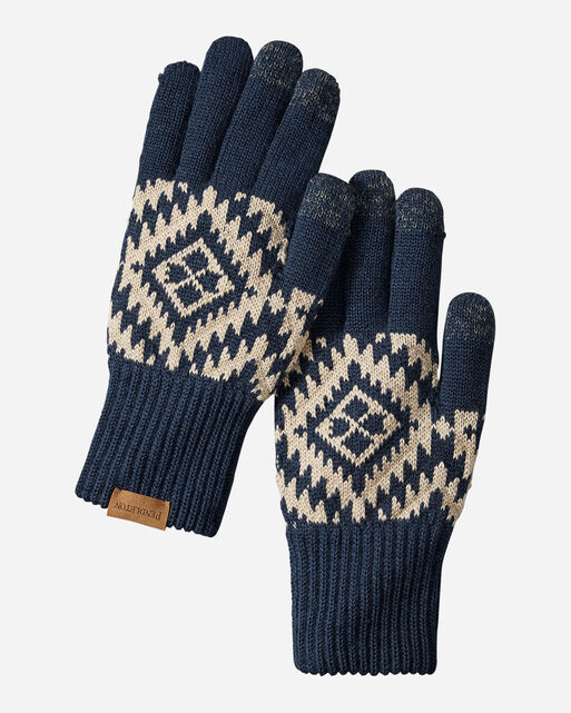 JACQUARD TEXTING GLOVES IN JOURNEY WEST NAVY