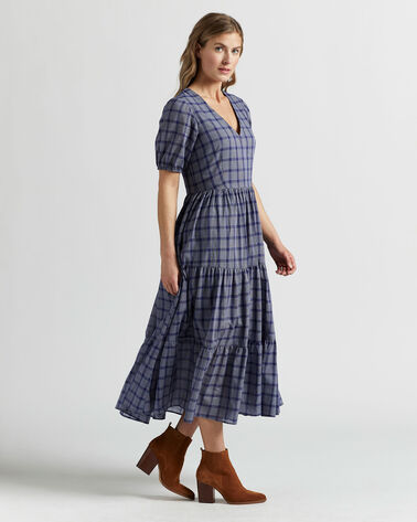ALTERNATE VIEW OF AIRY TIERED MIDI DRESS IN NAVY/WHITE PLAID