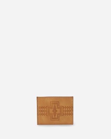 LEATHER EMBOSSED SLIM POCKET WALLET IN TAN