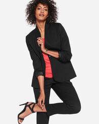 ULTRA 9 COLLARLESS ONE BUTTON BLAZER, BLACK, large