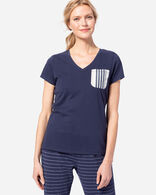 WOMEN'S SLEEP TOP WITH WOVEN POCKET IN INDIGO