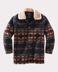 BROWNSVILLE SHEARLING COLLAR COAT, BLACK MULTI, large
