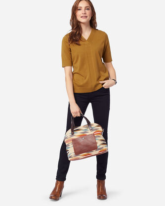 WOMEN'S SILK BLEND COLBY SUIT SWEATER, GOLDEN BROWN, large