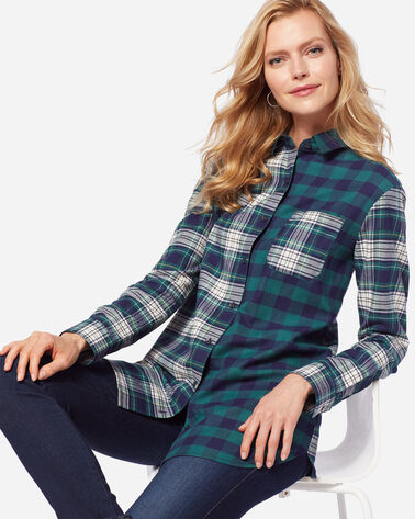 MIXED PLAID FLANNEL SHIRT, BLUE/GREEN, large