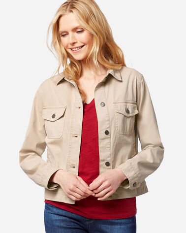 WOMEN'S CHINO TWILL JACKET IN TAN