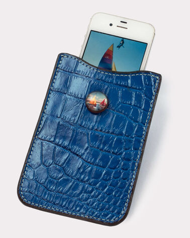 CROC CELL PHONE CASE, COBALT, large