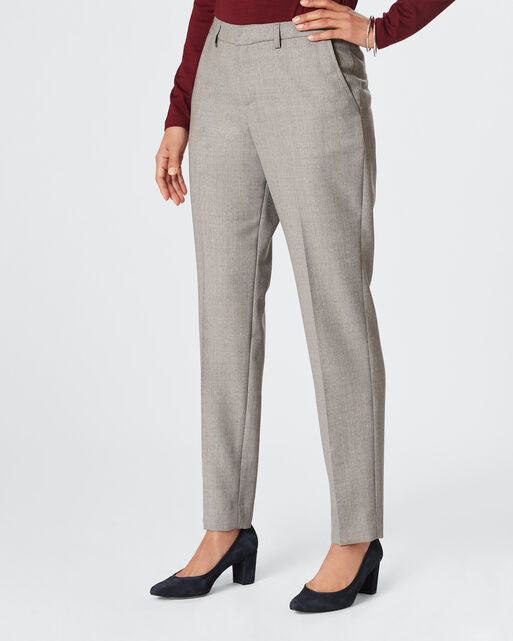 WORSTED WOOL FLANNEL STELLA SLIM PANTS, SILVER GREY MIX, large