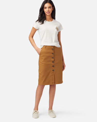 BUTTON FRONT PENCIL SKIRT IN PEANUT