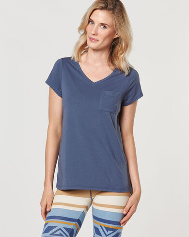 HIGH LOW POCKET TEE, BLUE CHAMBRAY, large