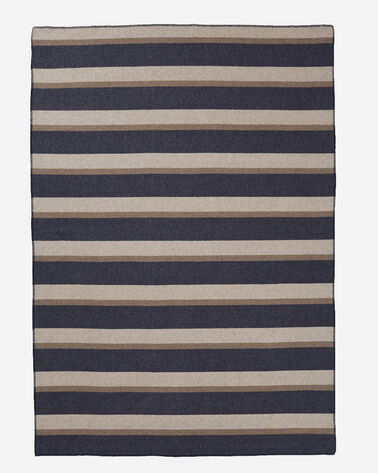 ECO-WISE WOOL PLAID/STRIPE BLANKET IN MIDNIGHT NAVY STRIPE LAYING FLAT