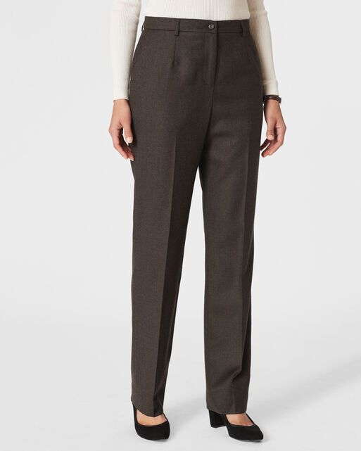 WORSTED WOOL FLANNEL TRUE FIT TROUSERS, BROWN MIX, large