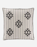 LYONS CROSS STITCH SQUARE PILLOW IN IVORY