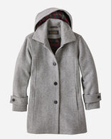 WOMEN'S BOOTH BAY INSULATED WOOL COAT IN FALCON GREY