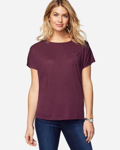 SHORT-SLEEVE JERSEY TEE, WINE, large