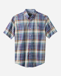 MEN'S SHORT-SLEEVE SEASIDE SHIRT, VIOLET/TAN PLAID, large