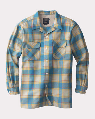 FITTED SURF BOARD SHIRT, COPPER/TURQUOISE PLAID, large
