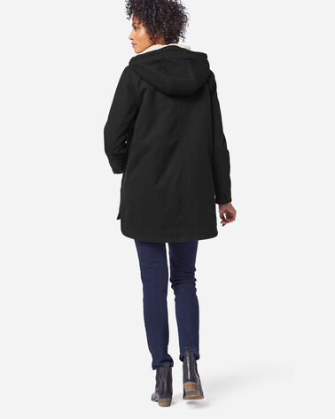 WOMEN'S FLORENCE A-LINE HOODED COAT, BLACK, large