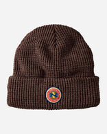 NATIONAL PARK PATCH WAFFLE BEANIE IN DARK BROWN HEATHER