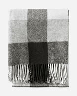 ECO-WISE WOOL FRINGED THROW IN BLACK/IVORY