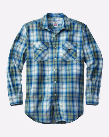 BEACH SHACK COTTON TWILL SHIRT, BLUE/SAGE/CREAM PLAID, large