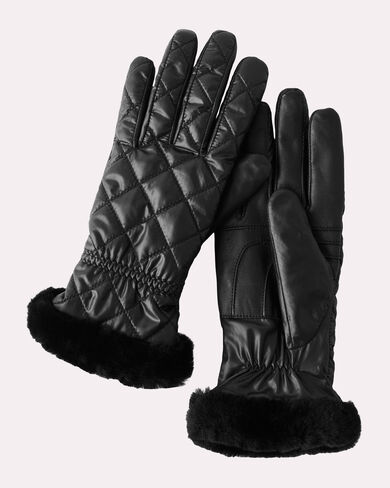 QUILTED ALL WEATHER GLOVES, BLACK, large