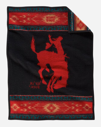 ADDITIONAL VIEW OF PENDLETON ROUND-UP COLLECTIBLE BLANKET IN ROUND-UP RED