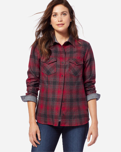 WOOL SHANIKO WESTERN SHIRT, RED/GREY OMBRE, large