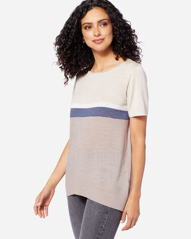 ADDITIONAL VIEW OF WOMEN'S SHORT SLEEVE MERINO PULLOVER IN LT TAUPE/INDIGO