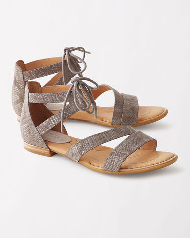 LACE-UP LEATHER CASMA SANDALS, GREY, large