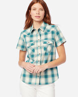 WOMEN'S SHORT-SLEEVE FRONTIER SHIRT IN AQUA/IVORY
