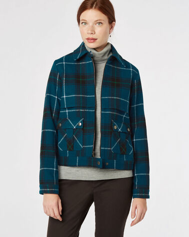 CROP ZIP WOOL PLAID JACKET, AEGEAN MULTI, large