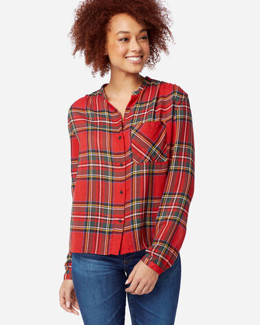 WOMEN'S HELENA MANDARIN COLLAR SHIRT in RED STEWART TARTAN