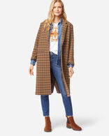WOMEN'S HUDSON LONG COAT IN TAN CHECK