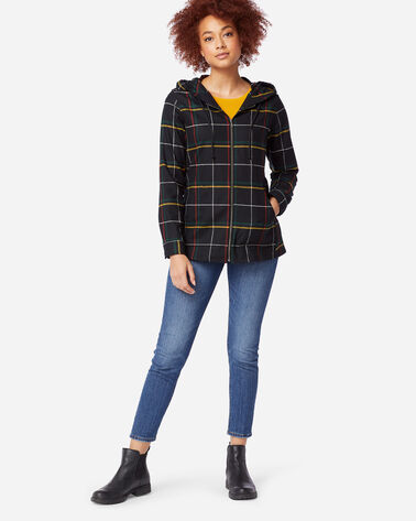 WOMEN'S ULTRALUXE MERINO ZIP HOODIE, BLACK WINDOWPANE, large