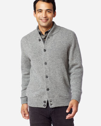 ALTERNATE VIEW OF MEN'S SHETLAND WASHABLE WOOL CARDIGAN IN GREY HEATHER