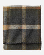 ECO-WISE WOOL PLAID/STRIPE BLANKET IN OXFORD PLAID FOLDED