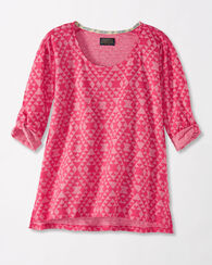 ROLL-SLEEVE HIGH-LOW TOP, PINK HEATHER, large