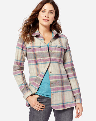 WOMEN'S BOARD SHIRT, TAN/FUCHSIA PLAID, large